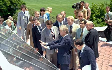 President Carter with White House Solar Panels